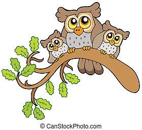Three cute owls on branch - vector illustration.