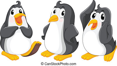 Three cute penguins