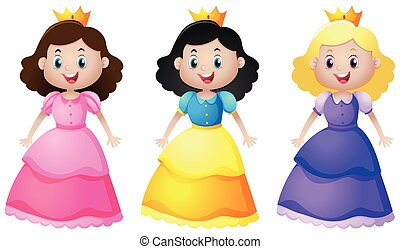 Three cute princesses with happy face
