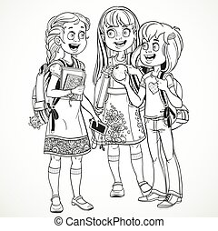 Three cute schoolgirl with a schoolbag socialize linear drawing on a white background