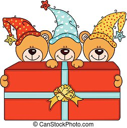 Three cute teddy bears with big red gift box