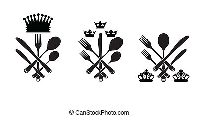 Three cutlery set with crowns