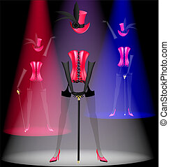 three dancing clothes - on a black background in...