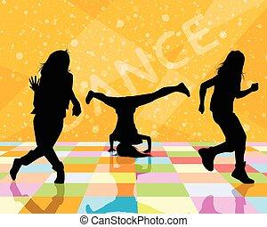 Three dancing teenagers