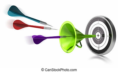 three darts hitting the center of a target helped by a green...