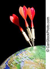 Three darts in a globe