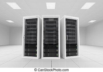 three data racks in server room