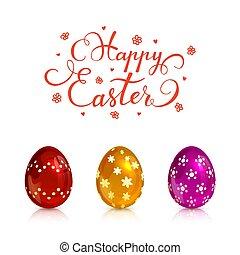 Three decorative Easter eggs