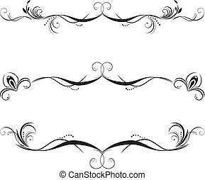 Three decorative floral borders. Vector illustration