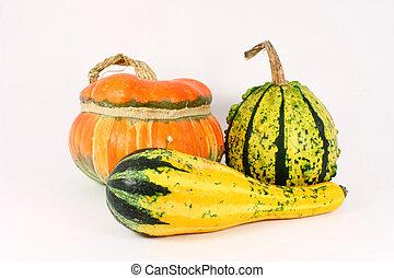 Three decorative gourds