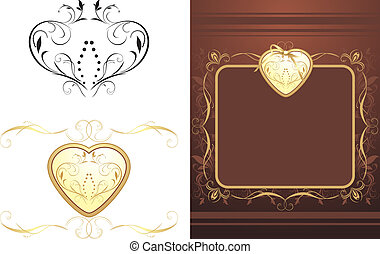 Three decorative retro elements