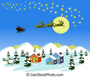 Three deer are dragging the Santa Car to the stars on blue background.