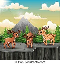 Three deer cartoon on the mountain a cliff