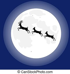 Three deer on the background of the moon
