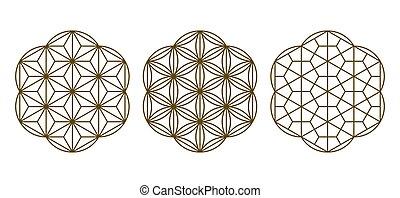 Three design elements based on Japanese decorative art Kumiko zaiku.For lasercutting, print .