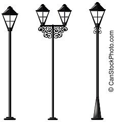 Three design of street lamps