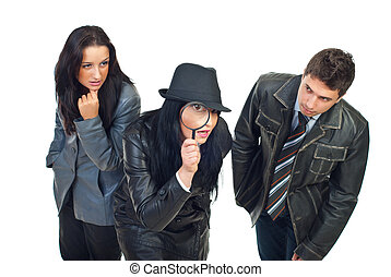 Three detectives investigate - Three young detectives in...