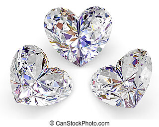 Three diamonds in the shape of heart on white