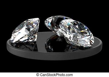 Three diamonds on the black glossy surface.