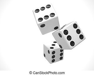 three dices on white. 3d rendering.
