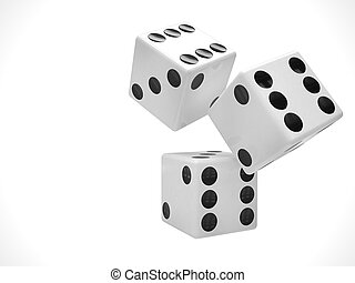 three dices on white