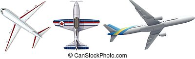Three different airplanes on white
