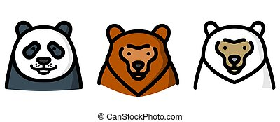 Three different bear vector illustration
