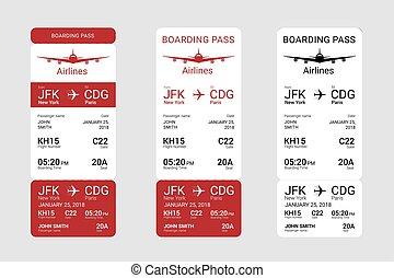 Three different boarding passes