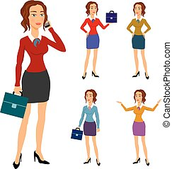 Three different body illustration beautiful brunette businesswoman glasses posing making gestures