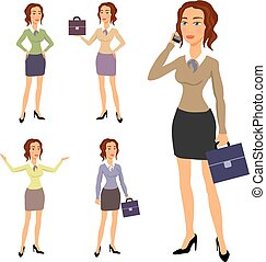 Three different body illustration beautiful brunette businesswoman glasses posing making gestures