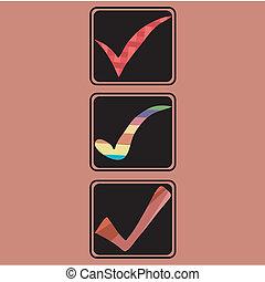 three different check symbols