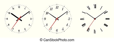 Three different clock faces over white