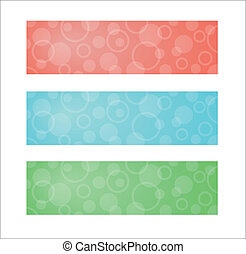 three different color banners with white circles
