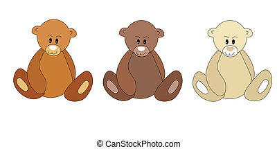 Three different color teddy bears on white
