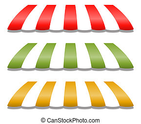 Three Different Colored Vector Awnings, Red, Green and...