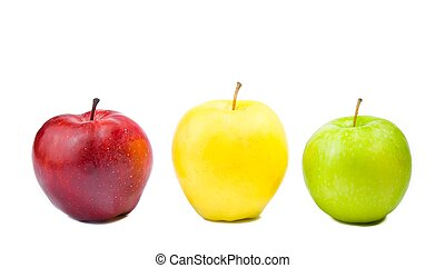 three different colorful apples
