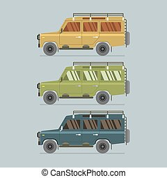 Three Different Colors Of Jeep Vector Illustration
