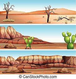 Three Different Dry Valley Scene illustration