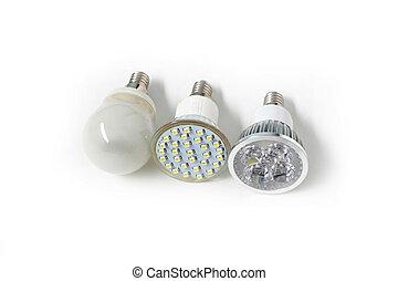 Three different Eco energy saving light bulb