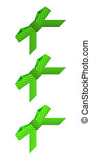 three different green dashed bows on white background