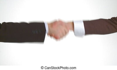 three different handshakes in businessclothes close