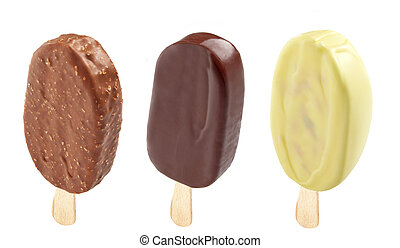 three different Ice creams covered with chocolate