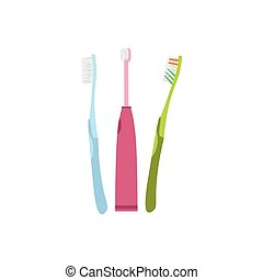 Three Different Kind And Color Of Toothbrushes
