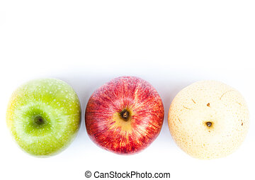 Three different kind of apples on white background