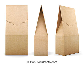 Three different kinds of Kraft bag on white background. 3d rende