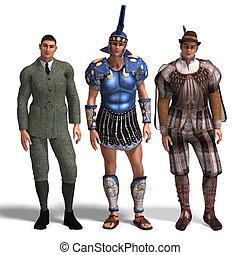 three different outfits: Gentleman, Roman, Romeo - same man...