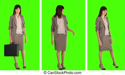 Three different situations of a businesswoman against a green screen