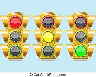 three different traffic lights