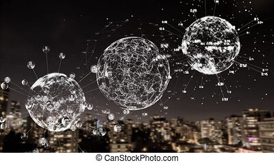 Three digital earths with data on a city background