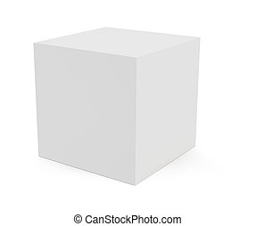 Three-dimension cube block isolated on white background